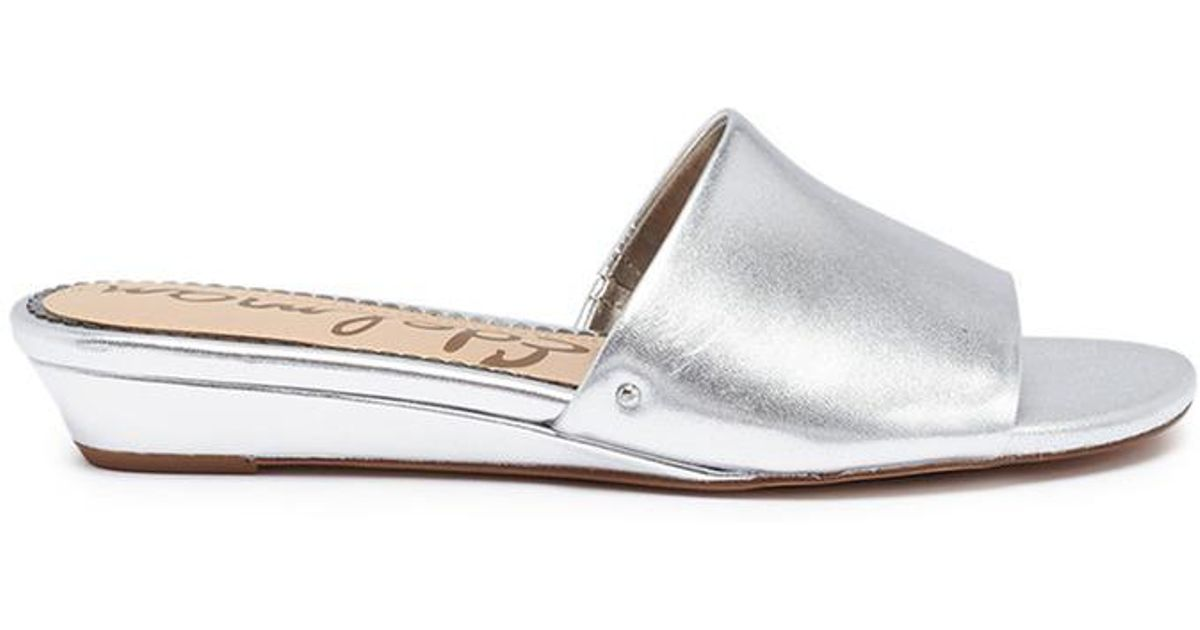 6ce23b76e31e Sam Edelman  liliana  Wedge Metallic Leather Slide Sandals in Metallic -  Lyst