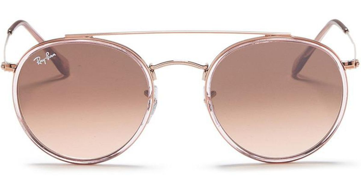 fcf3e7631c low price lyst ray ban rb3647 n round double bridge sunglasses in metallic  e62d3 411f0