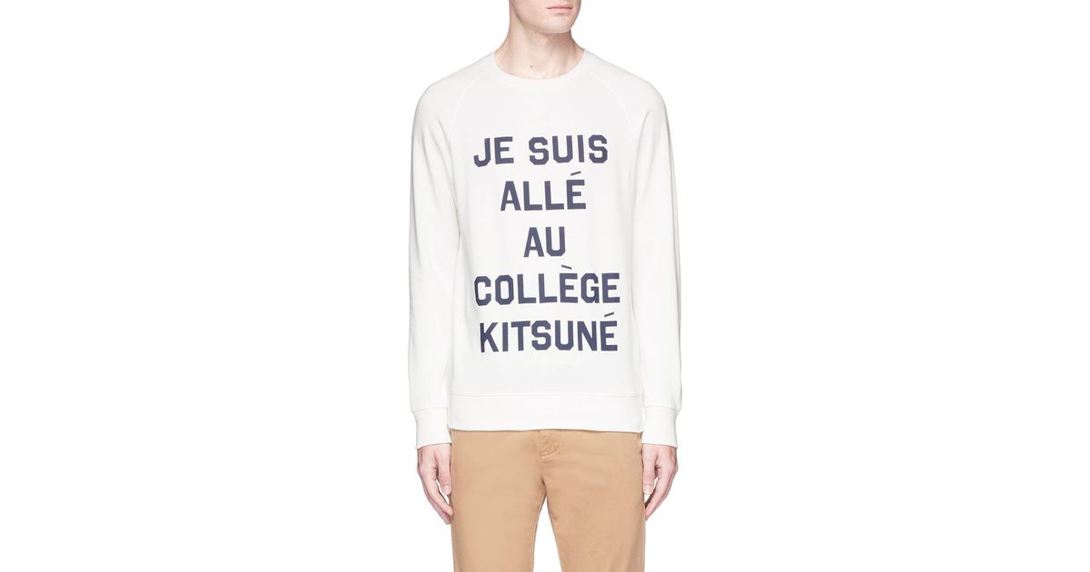 lyst maison kitsun je suis alle cotton sweatshirt in white for men. Black Bedroom Furniture Sets. Home Design Ideas