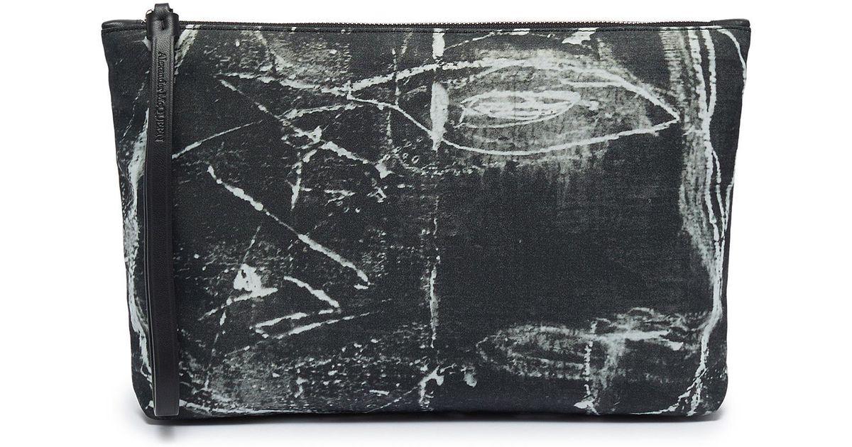 f43aa77868 Alexander McQueen Black X The John Deakin Archive Graffiti Pouch for men