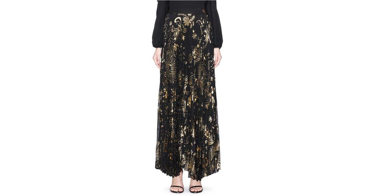 ee5839d488b1 Alice + Olivia 'shannon' Sun Print Plissé Pleated Chiffon Maxi Skirt in  Black - Lyst
