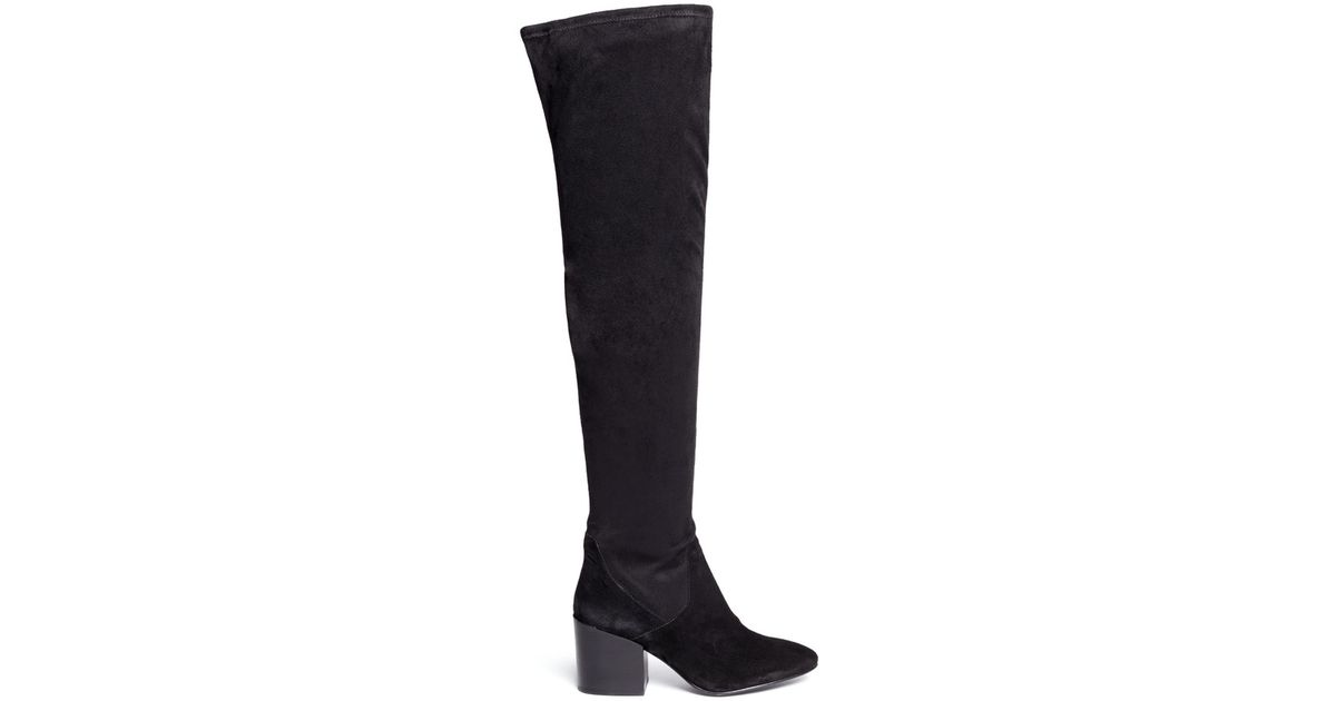 ash elisa stretch faux suede thigh high boots in black