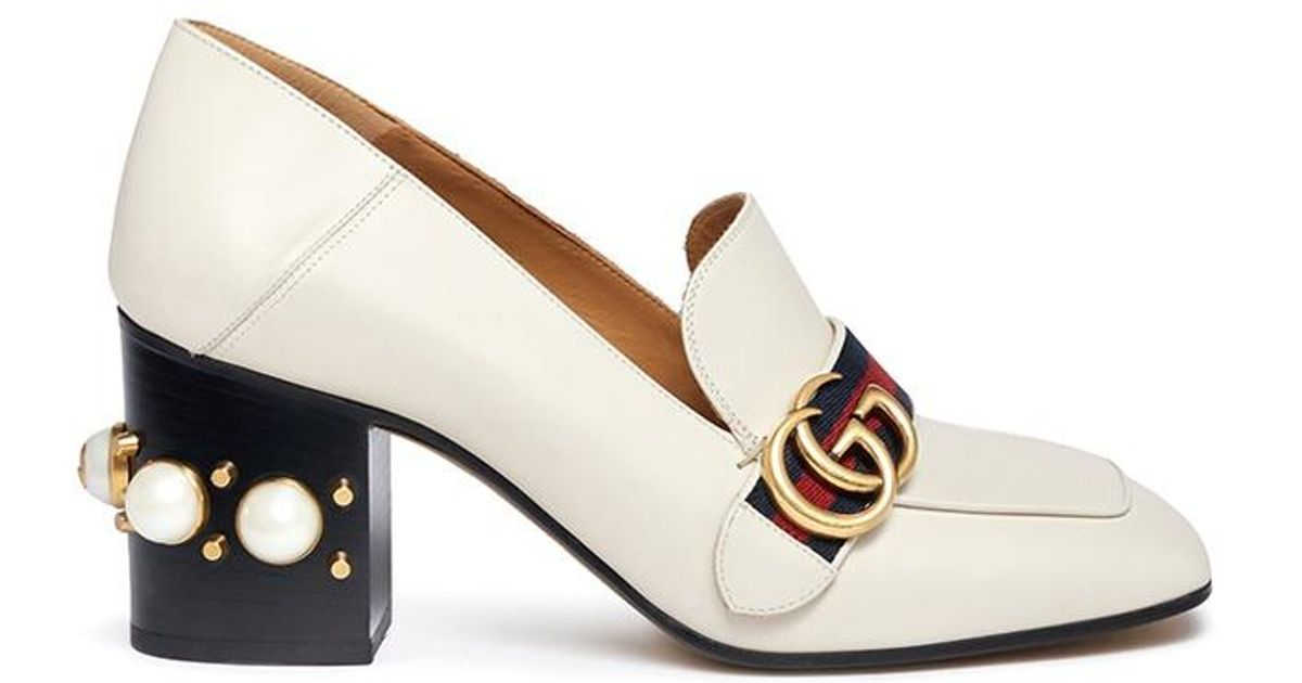9d86d47749ad Gucci  peyton  Gg Pearl Heel Leather Loafer Pumps in White - Lyst