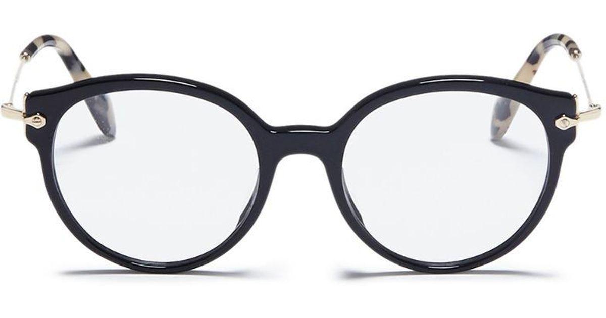 3a5dc3b711ab Lyst - Miu Miu Metal Temple Acetate Panto Optical Glasses