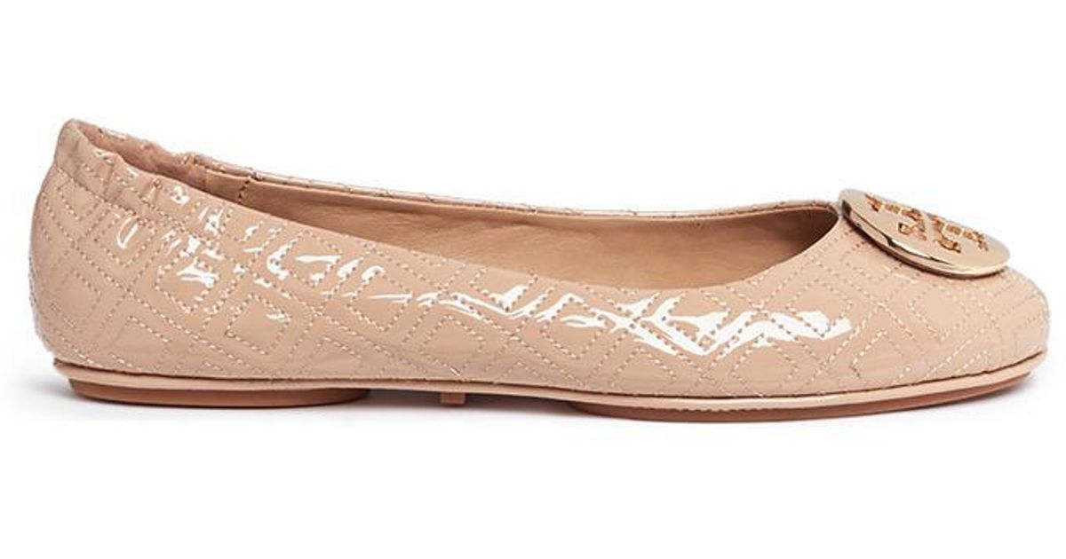 4e3fa4ea6556d Lyst - Tory Burch  minnie Marion Quilted  Patent Leather Ballet Flats
