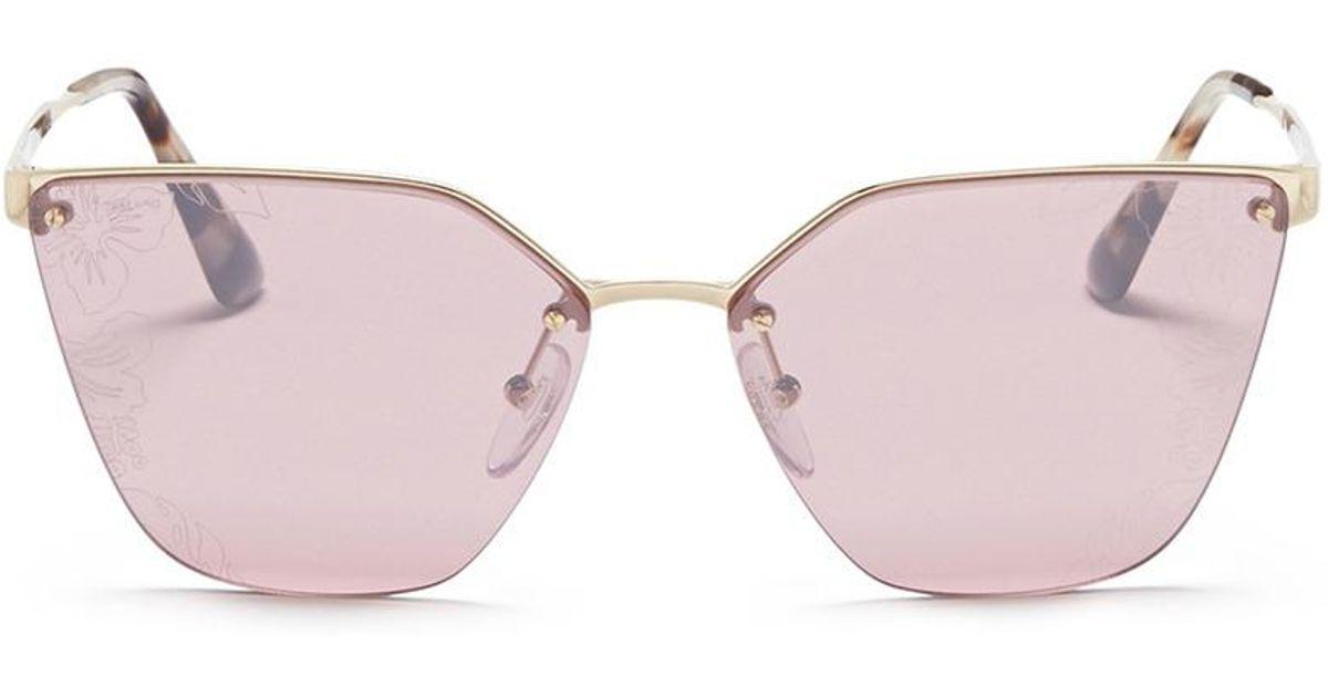 72027afd56f3 ... uk lyst prada mount floral lens metal angular cat eye sunglasses 77be4  de458