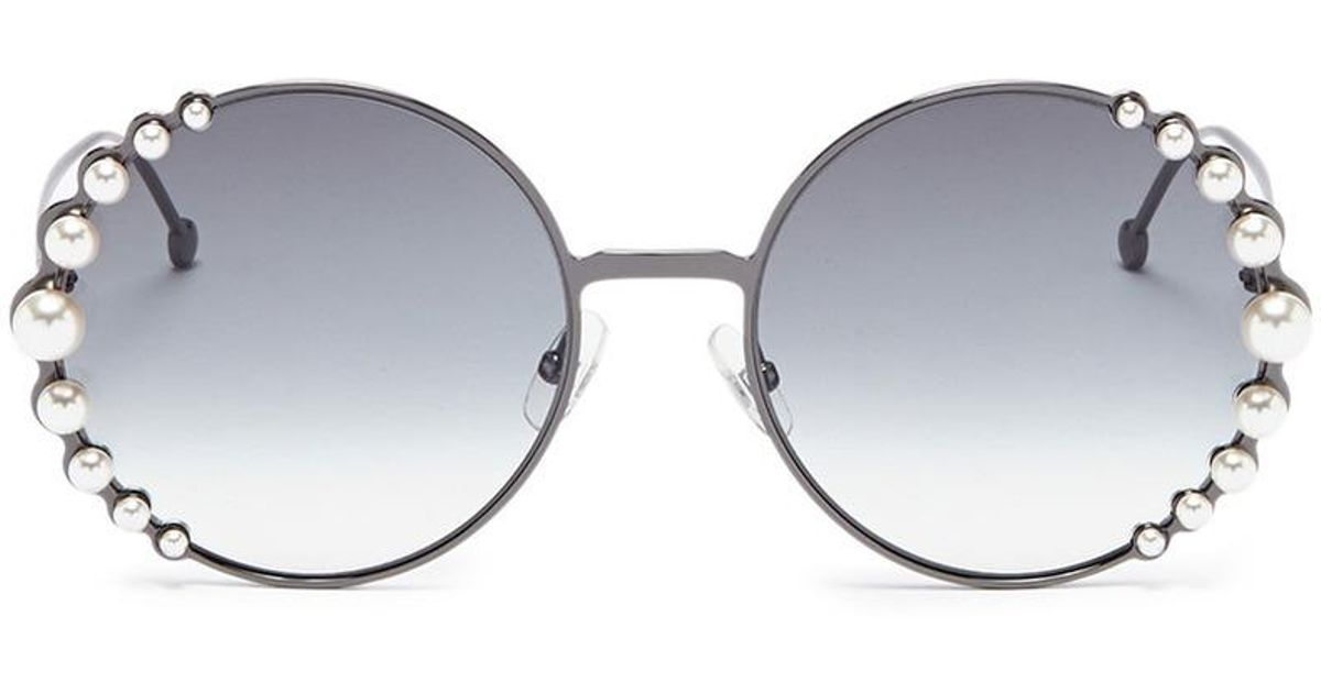 f45809b702cae Lyst - Fendi  ribbons And Pearls  Oversized Metal Round Sunglasses