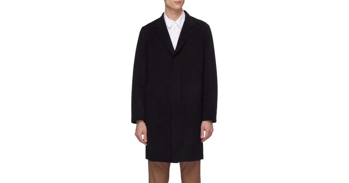 727c67c75b Theory 'suffolk' Double Faced Cashmere Melton Coat in Black for Men - Lyst