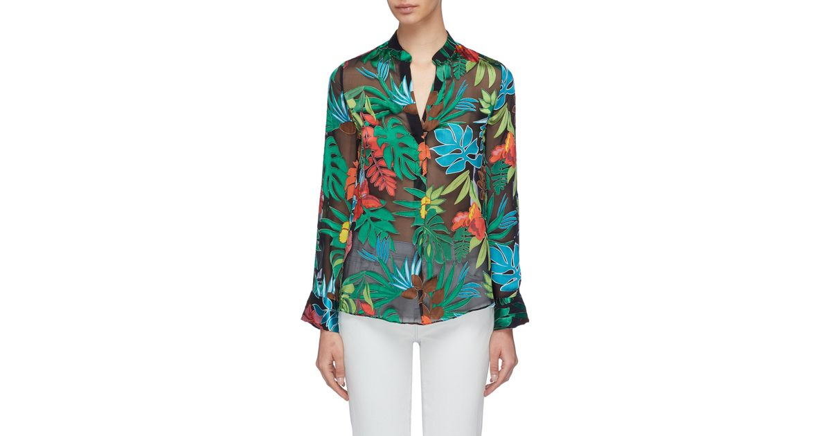 0a5b4bcf90e Alice + Olivia 'amos' Floral Palm Leaf Burnout Tunic Top in Green - Lyst