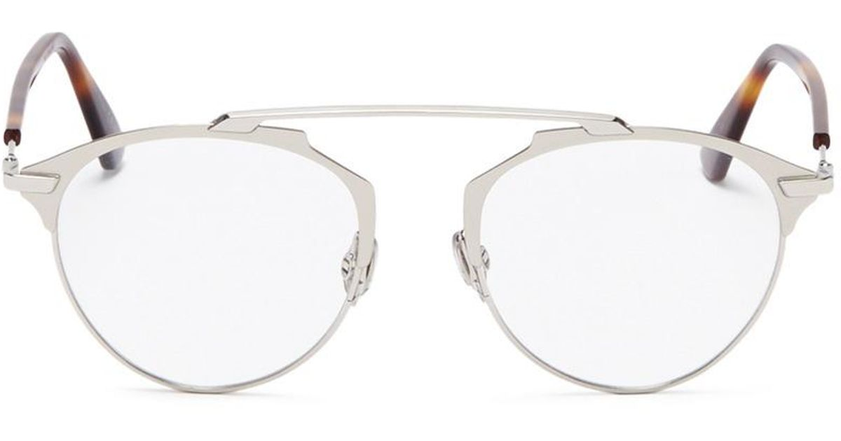 d4caba7d9af Dior   So Real  Metal Panto Optical Glasses in Metallic - Lyst