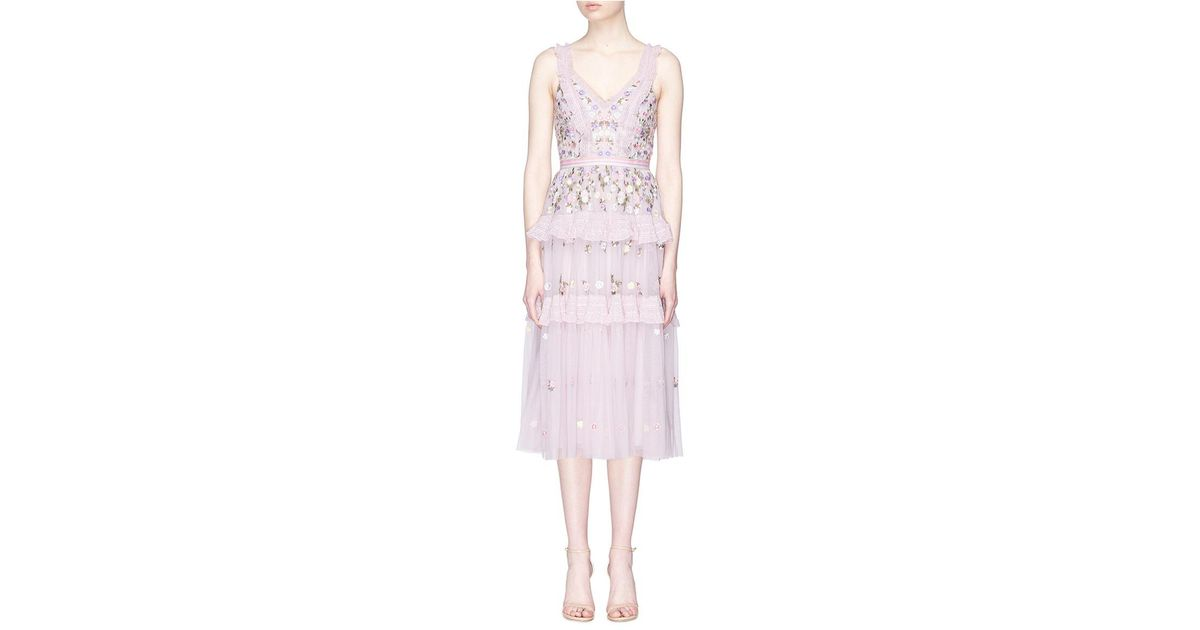 64c79eb290950 Needle & Thread 'prism Ditsy' Floral Embroidered Tulle Midi Dress in Pink -  Lyst