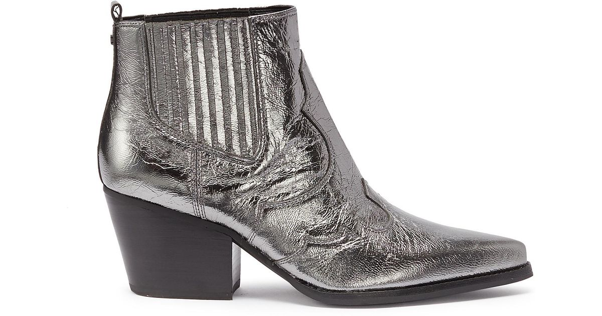 5029e783c87e Lyst - Sam Edelman Winona Metallic Textured-leather Ankle Boots in Metallic