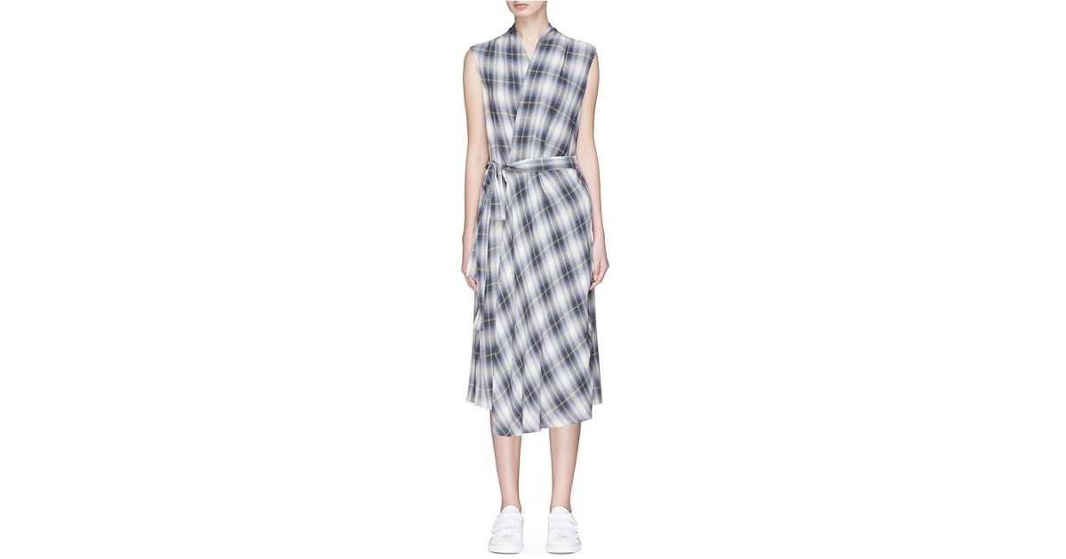 Brand new Lyst - Vince Shadow Plaid Cotton Blend Flannel Wrap Dress DZ65
