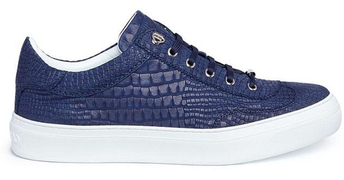 eabbdbf676c Jimmy Choo 'ace' Croc Embossed Leather Sneakers in Blue for Men - Lyst