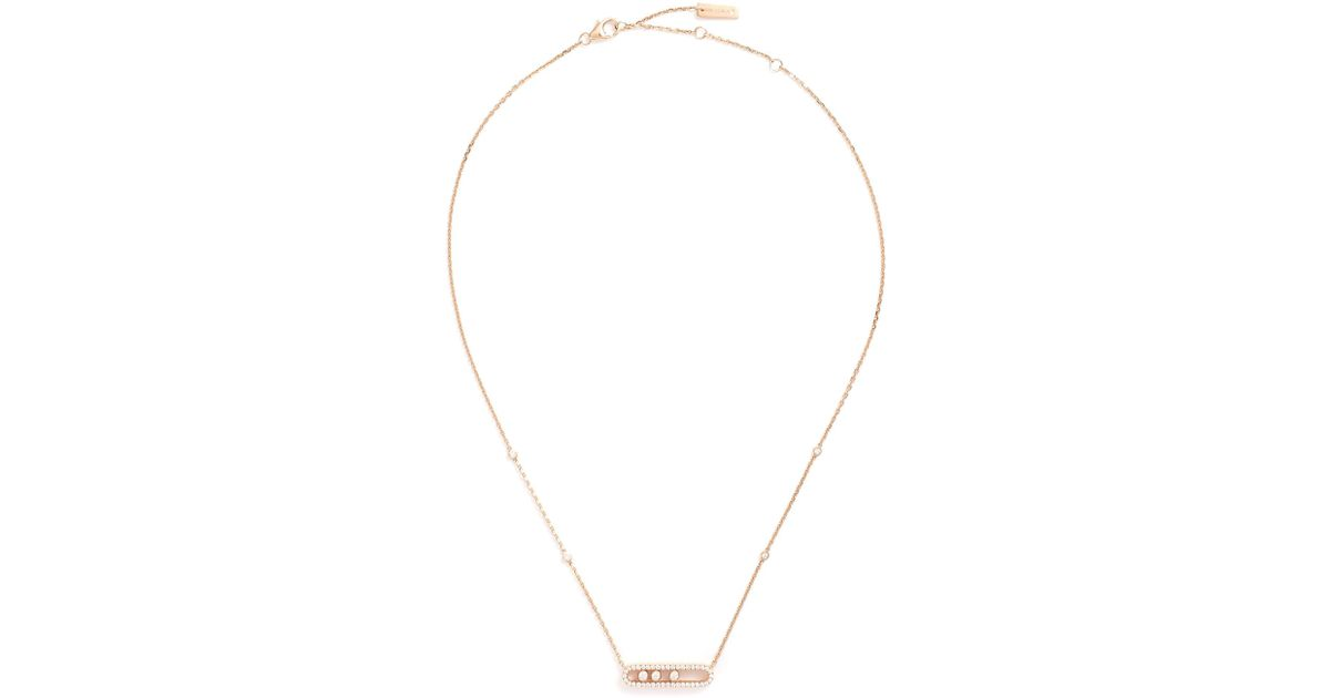 7b29485fa1e01f Messika 'baby Move Pavé' Diamond 18k Rose Gold Necklace in Metallic - Save  35% - Lyst