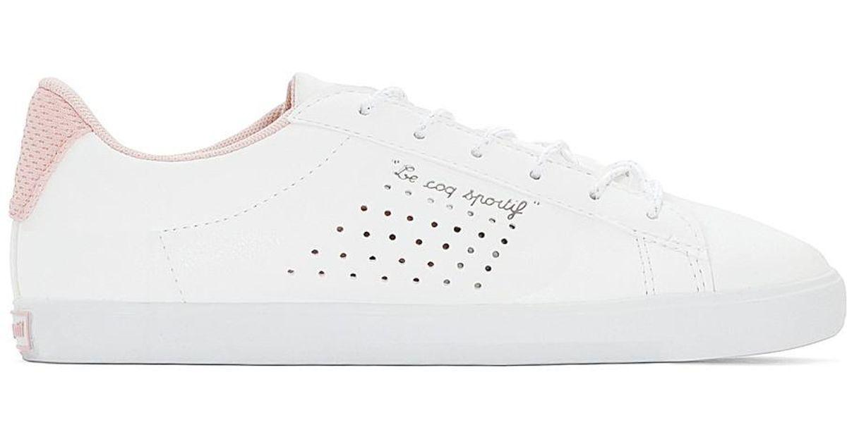 83fe5cd5a6ee Lyst - Le Coq Sportif Agate Lo S Lea metallic Mesh Trainers in White