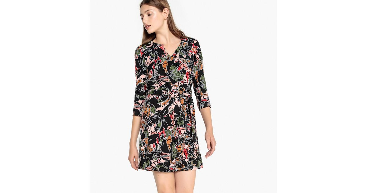 aca185f825 Lyst - Suncoo Candy Floral Print Dress With 3 4 Length Sleeves And Belt in  Black