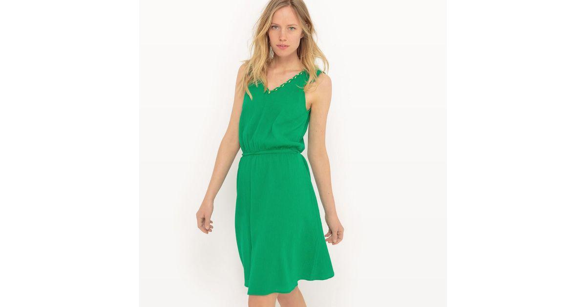 Lyst - La redoute Kleid Knielang, Kurze Volantärmel in Green