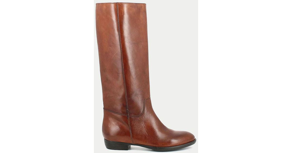 96b778aea84 Lyst - Jonak 1137 Flat Leather Boots in Brown