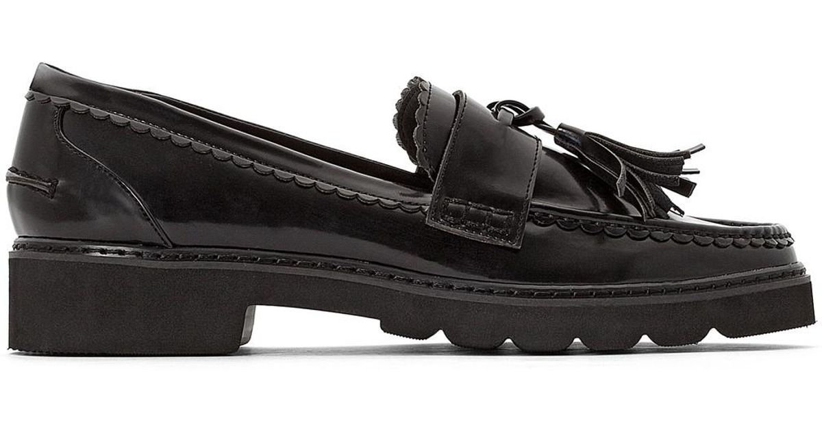 4993f749364 Lyst - La Redoute Wedge Loafers With Tassel Trim in Black
