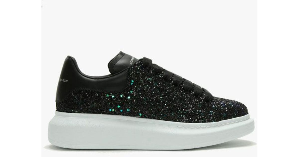Lyst - Alexander McQueen Green Glitter Lace Up Sporty Trainers in Green 0ca17bf7cf