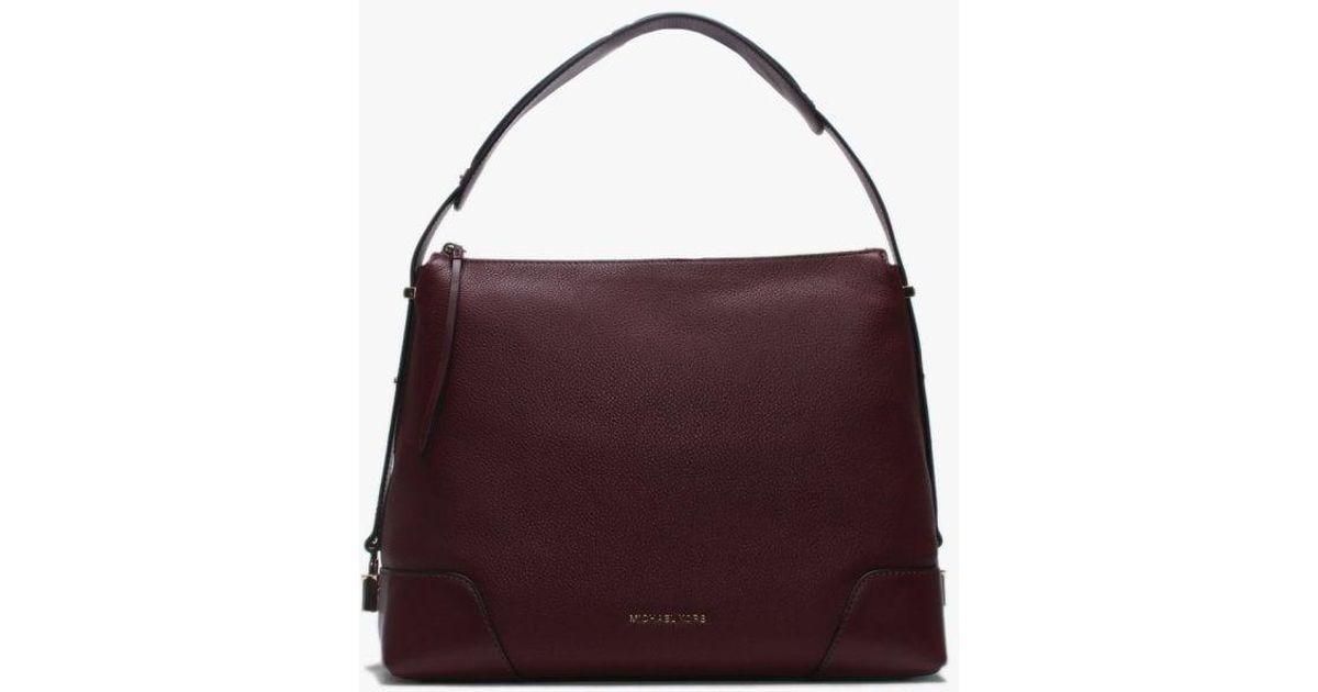 0fdb377a48fc6b Michael Kors Large Crosby Oxblood Pebbled Leather Shoulder Bag in Purple -  Lyst