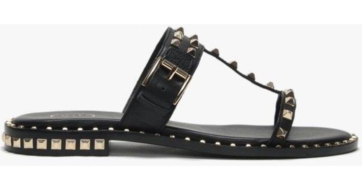 78f70adb39b2 Lyst - Ash Prince Black Leather Studded Sandals in Black