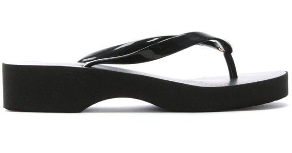 8511144c72e6d0 Tory Burch Black Wedge Toe Post Flip Flops in Black - Lyst