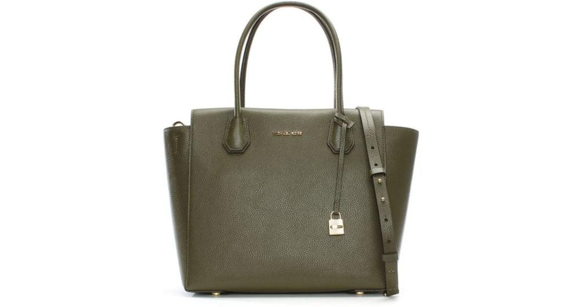 5c25c7cc2417 Lyst - Michael Kors Mercer Large Olive Leather Satchel Bag in Green