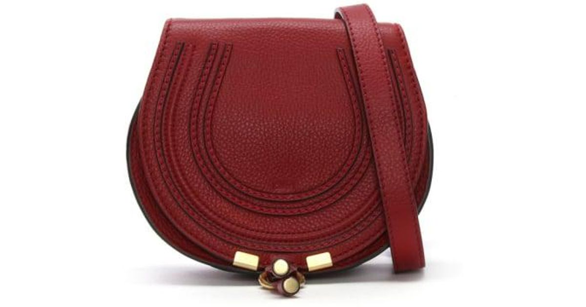 12571f2721 Chloé Chloe Marcie Dahlia Red Leather Small Satchel in Red - Lyst