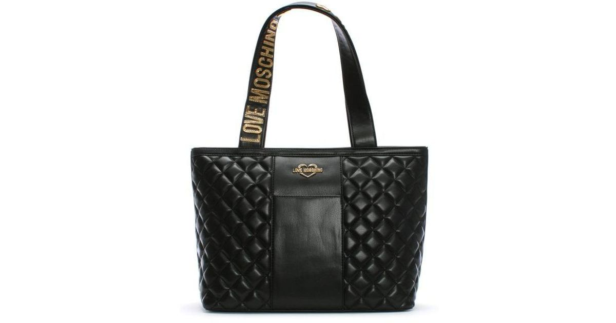 7f458e47d8 Love Moschino Jersey Black Leather Quilted Shopper Bag in Black - Lyst
