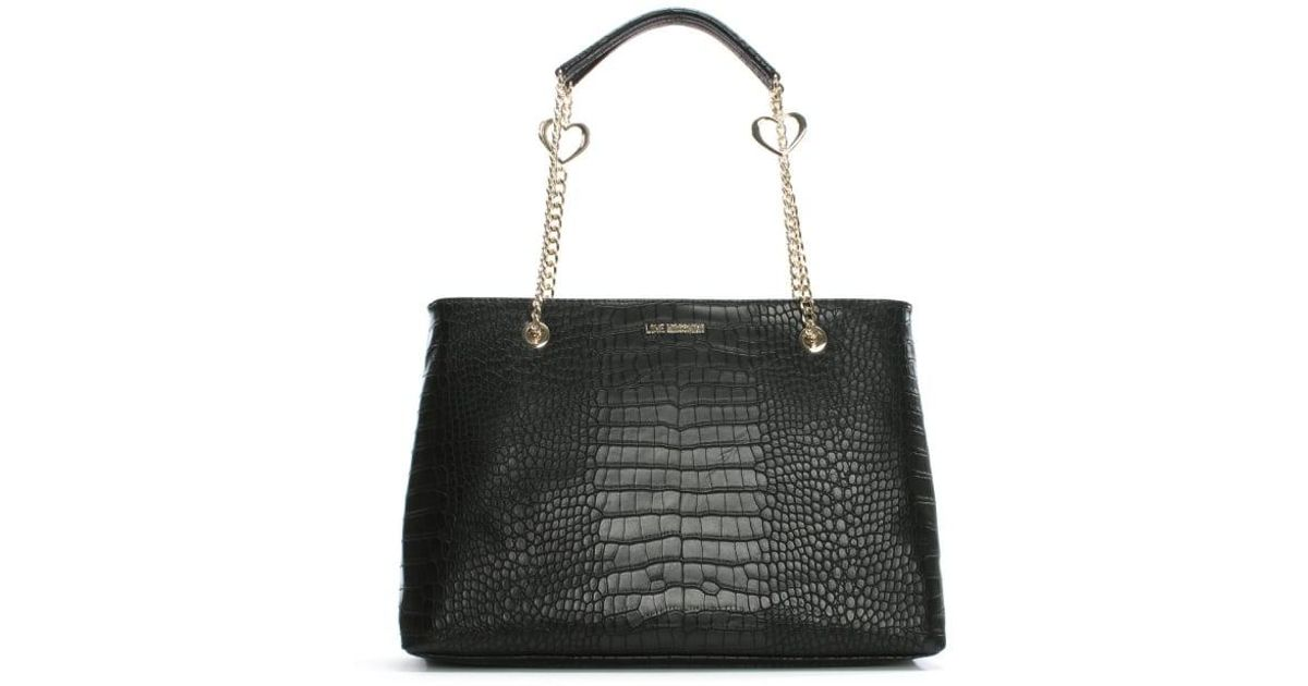 Lyst - Love Moschino Becky Black Reptile Tote Bag in Black 5db2503435