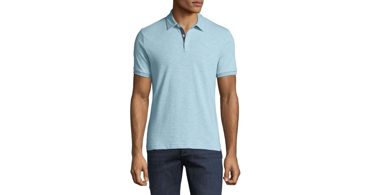 Lyst - Original Penguin Men s Slub-jersey Polo Shirt in Blue for Men 7cc7badb65769