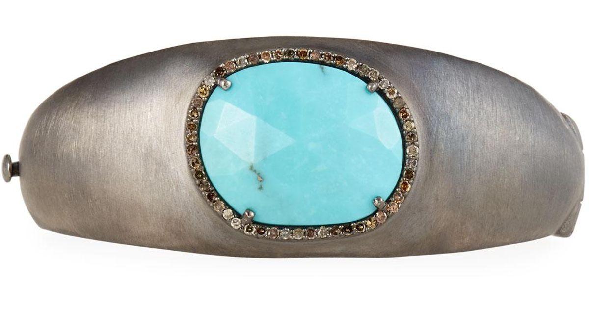 Bavna Tapered Turquoise & Diamond Bangle Zs7BBRxBAi