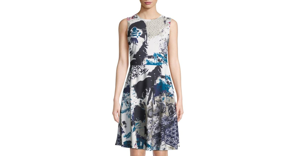 7d5fa62f885357 Donna Karan Abstract-print Sleeveless Fit & Flare Dress in Blue - Lyst