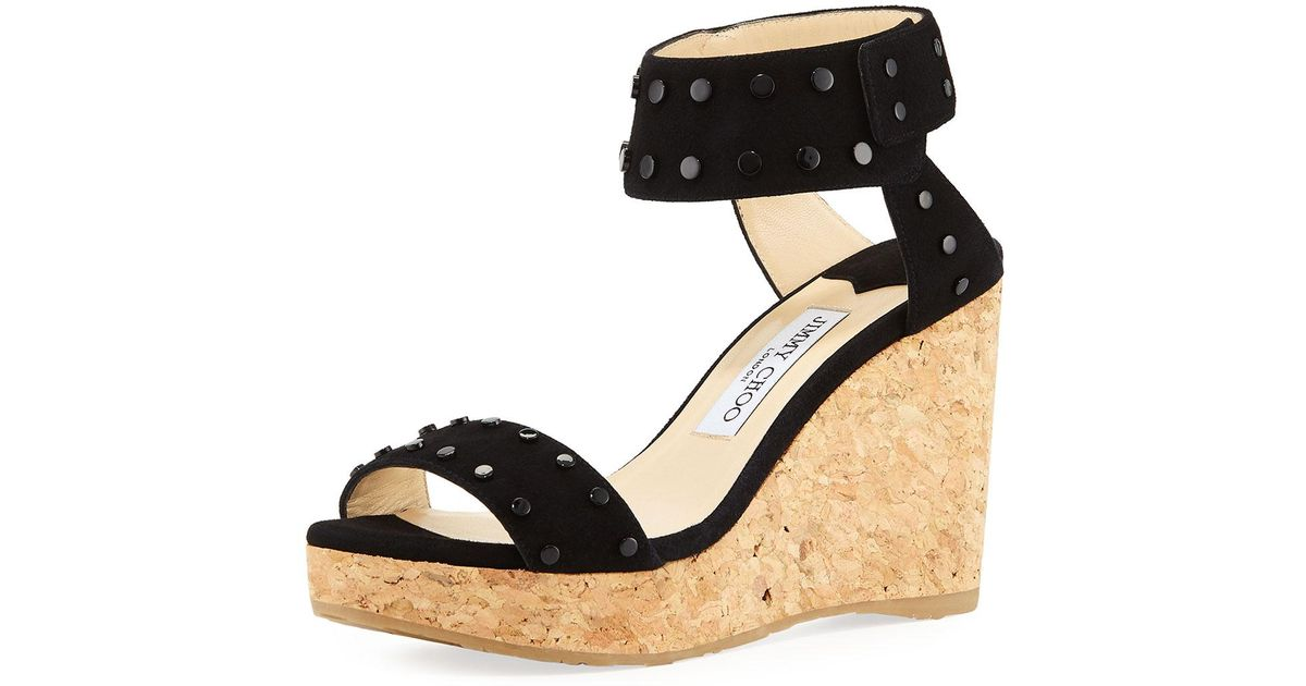 1f64e0798b6f Lyst - Jimmy Choo Nelly 100mm Studded Suede Cork Platform Wedge Sandals in  Black