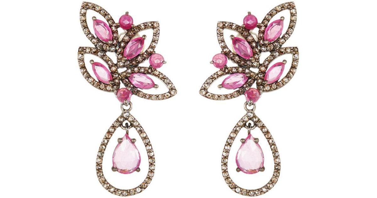 Bavna Linear Diamond & Glass Ruby Drop Earrings MR2olbh