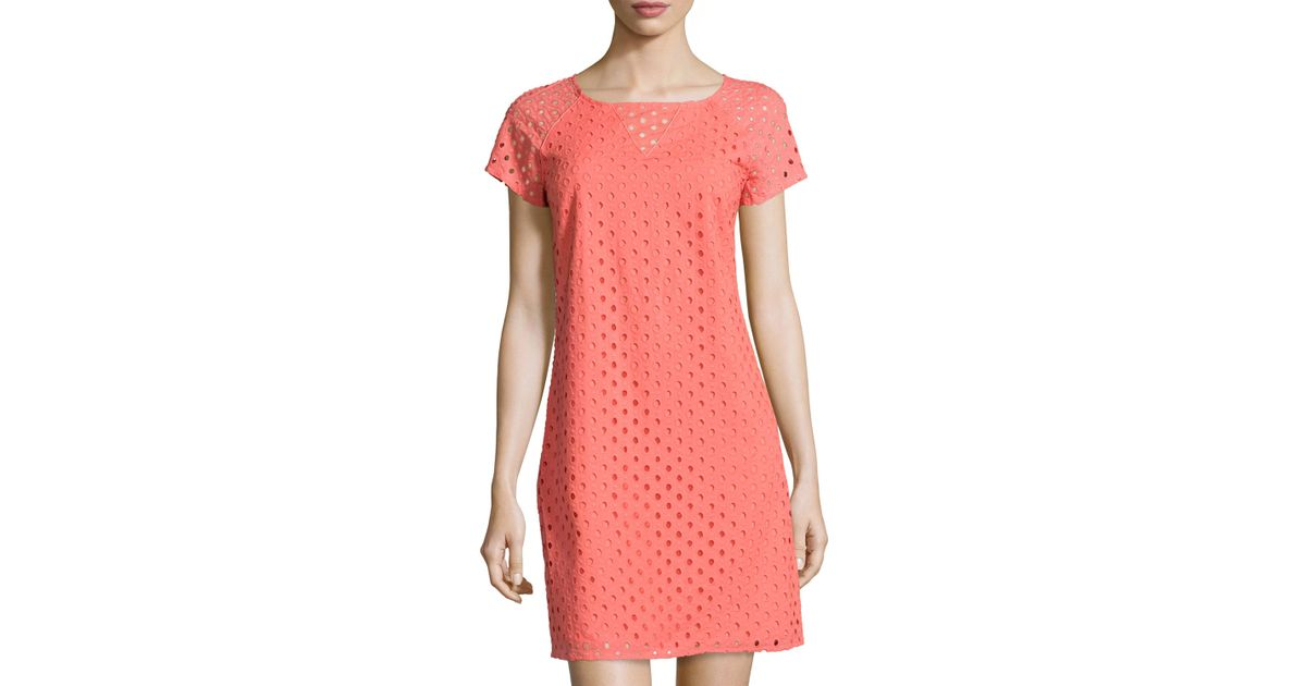 5513c86a97 Lyst - Sail To Sable Short-sleeve Eyelet Shift Dress in Pink
