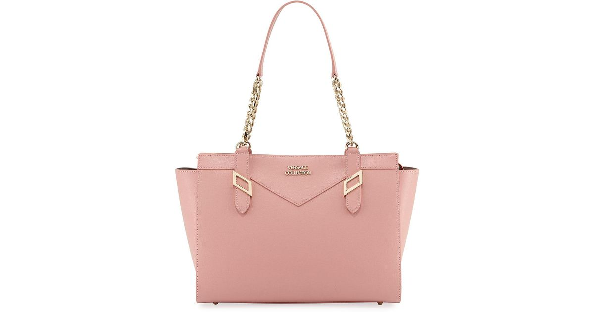 8cbf389118d Versace Saffiano Leather Chain Shoulder Bag Pink in Pink - Lyst
