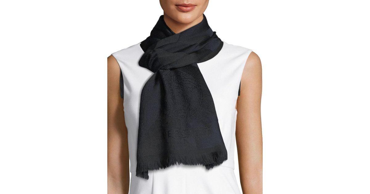 26f371fdc Versace Diagonal Lines Wool Scarf in Black - Lyst