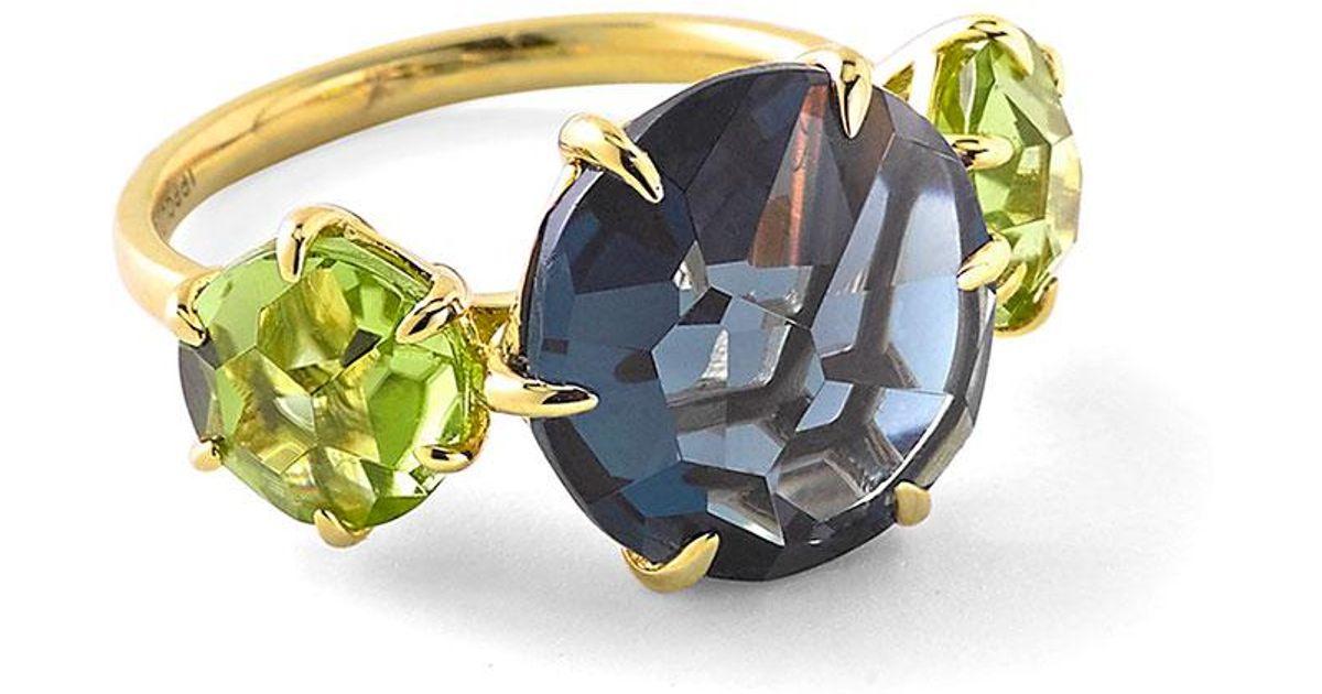 Ippolita 18k Rock Candy 3-Stone Ring in London Blue Topaz & Peridot, Size 7