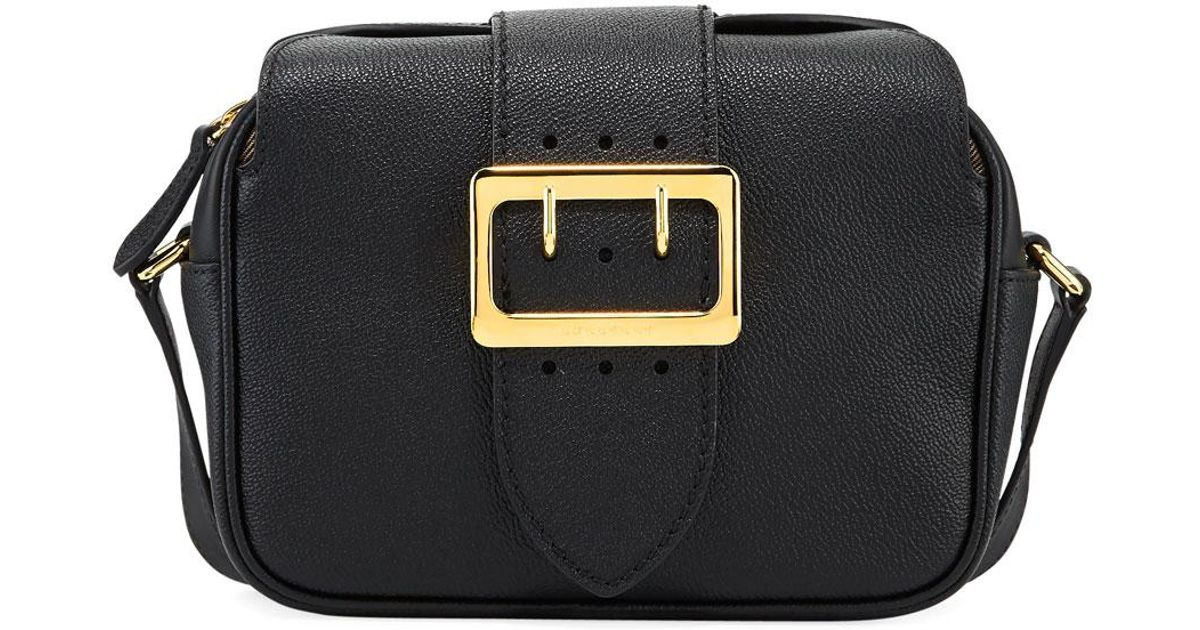 df5fea384e2 Burberry Small Soft Grain Leather Buckle Crossbody Bag in Black - Lyst
