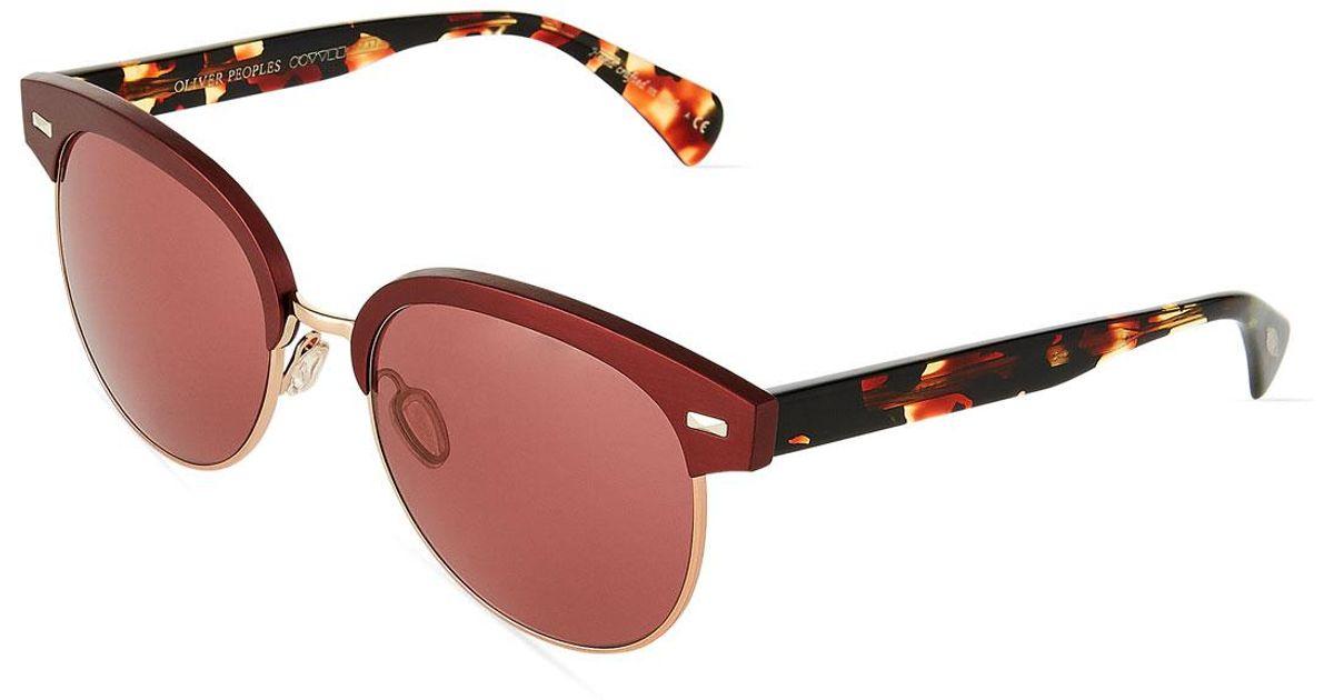 42684bfa55 Lyst - Oliver Peoples Shaelie Brow-line Acetate metal Sunglasses
