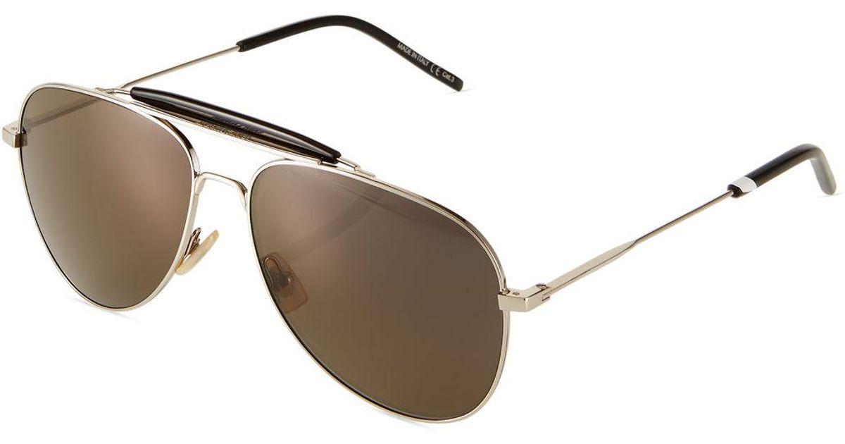 0aff714dff Lyst - Saint Laurent Men s Sl853 Metal Aviator Sunglasses in Metallic for  Men