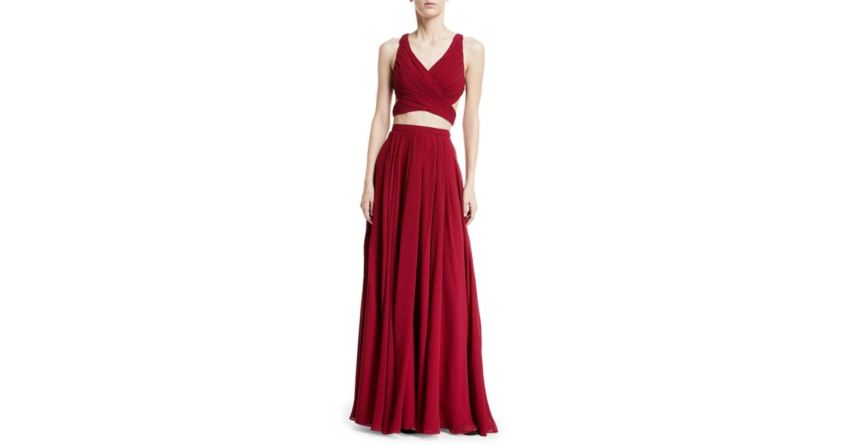 Lyst - Fame & Partners Daisy Two-piece Gown in Red