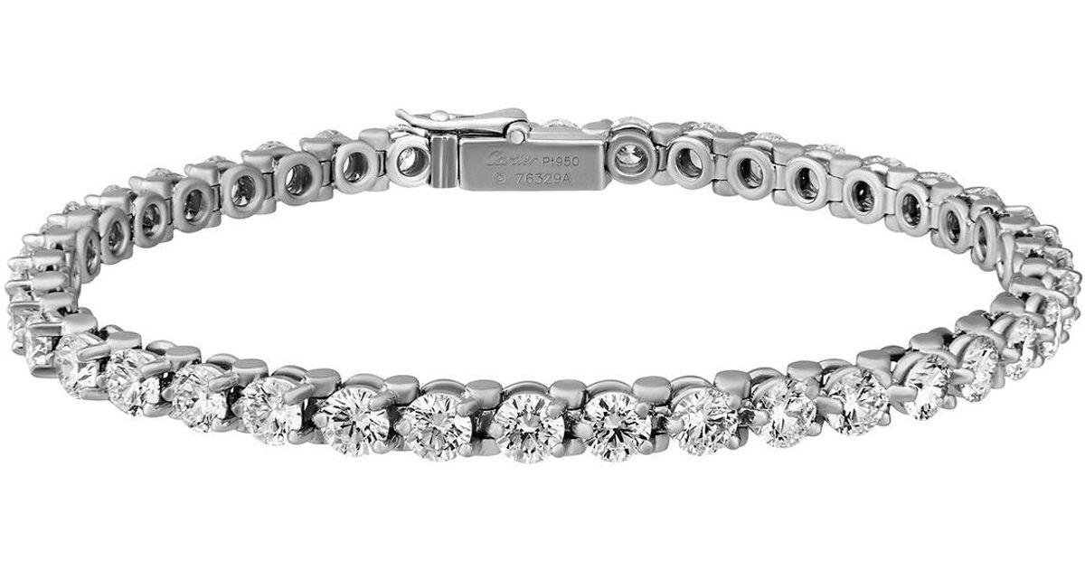Lyst Cartier Estate Essential Lines Platinum Diamond Tennis Bracelet In Metallic