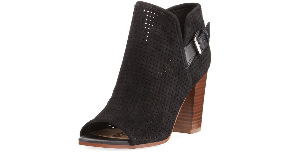c28e9be3f84075 Lyst - Sam Edelman Easton Perforated Peep-toe Bootie in Black