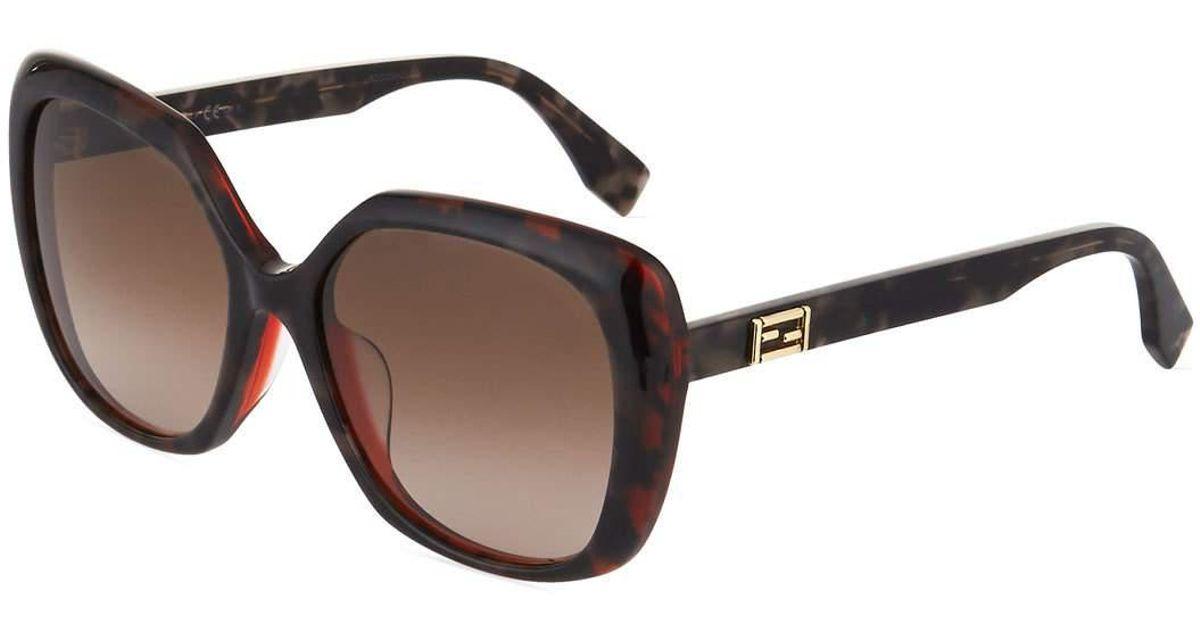 0f0baf16df Lyst - Fendi Multi-layered Two-tone Square Plastic Sunglasses in Brown