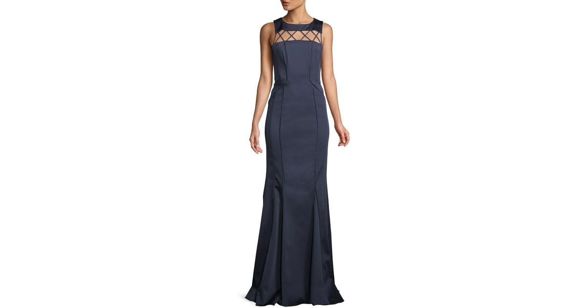 Lyst - Zac Posen Lori Strappy-yoke Faille Evening Gown in Blue