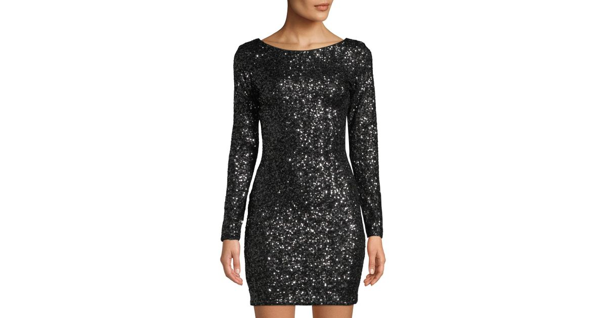 dcafbba5e05 Dress the Population Lola Long-sleeve Scoop-back Sequined Mini Cocktail  Dress in Black - Lyst